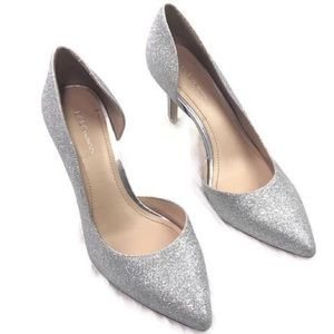 BCBGeneration silver sparkly heels pointed toe sz8